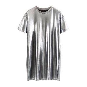 Shein Silver Metallic Tee Shirt Dress